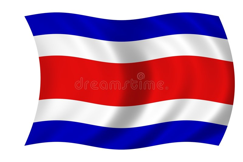 Flag of costa rica. Waving flag of costa rica stock illustration