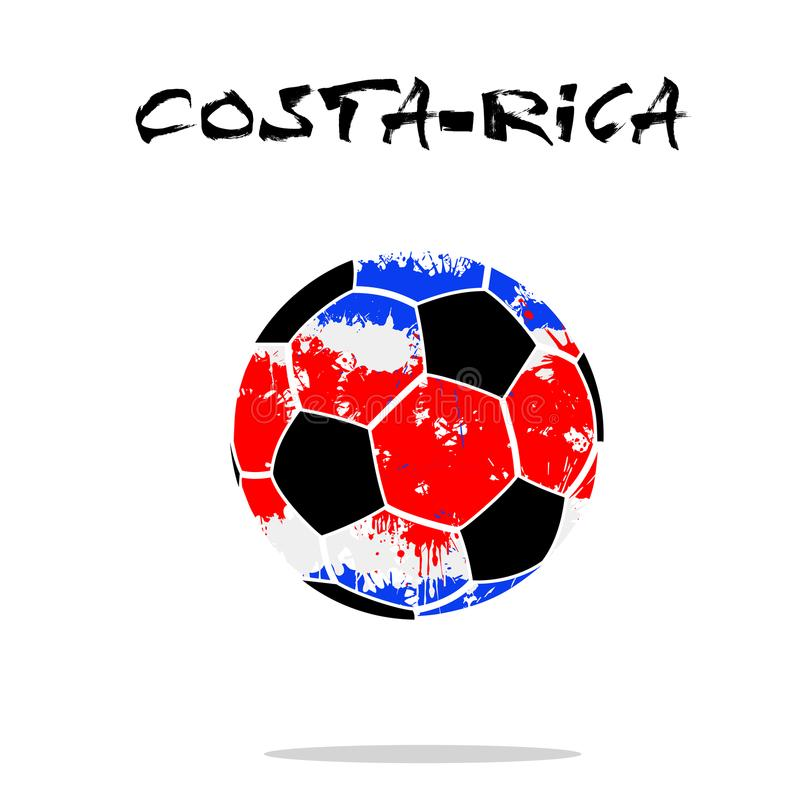 Flag of Costa-Rica as an abstract soccer ball. Abstract soccer ball painted in the colors of the Costa-Rica flag. Vector illustration stock illustration