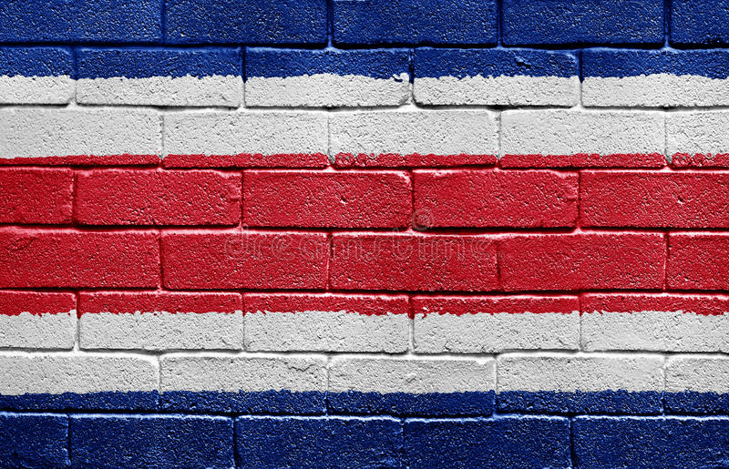 Flag Of Costa Rica On Brick Wall Royalty Free Stock Photography