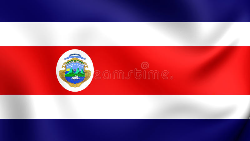 Flag of the Costa Rica. 3D Flag of the Costa Rica. Close Up stock illustration