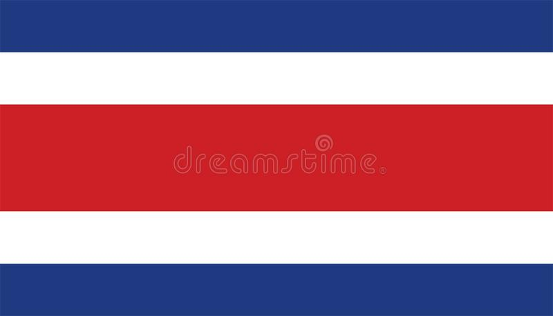 Flag of Costa Rica . Flag of Costa Rica , Accurate dimensions, elements proportions and colors. Original and simple Costarica flag isolated in official colors royalty free illustration