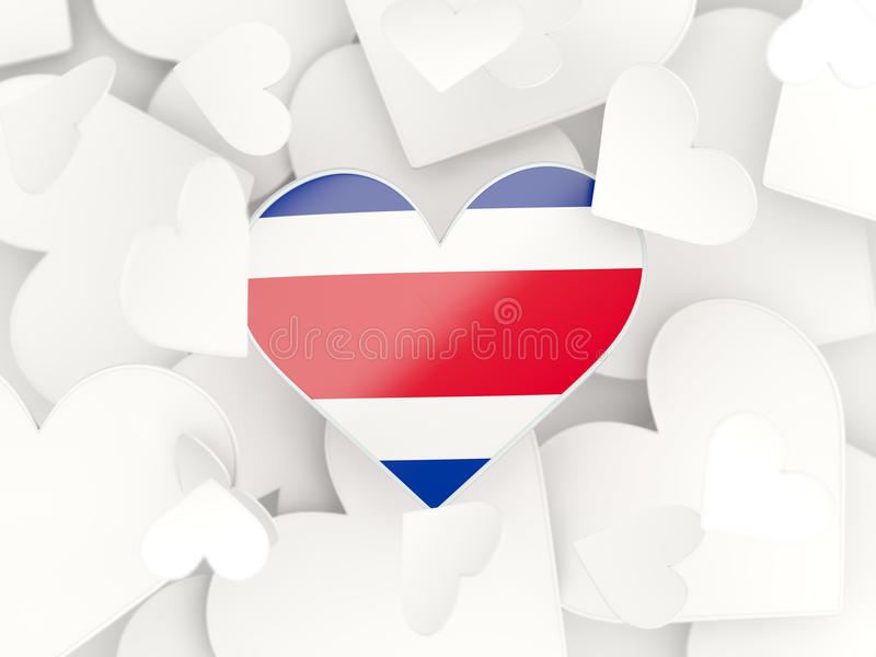 Flag of costa rica, heart shaped stickers vector illustration