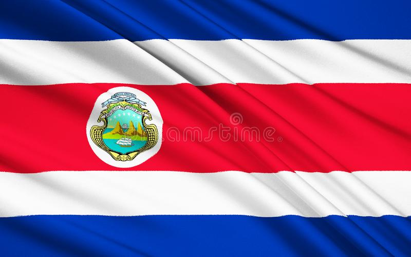 Flag of Costa Rica, San Jose. Flag of Costa Rica - adopted on 27th November 1906. The flag was updated to reflect modifications to the national coat of arms in vector illustration