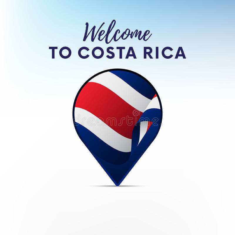 Flag of Costa Rica in shape of map pointer or marker. Welcome to Costa Rica. Vector illustration. stock illustration