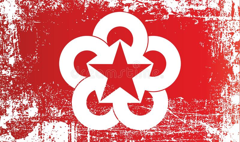 Flag of Council for mutual economic assistance. Wrinkled dirty spots. Can be used for design, stickers, souvenirs stock illustration