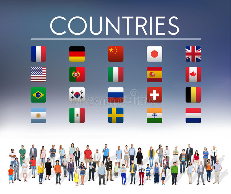 Flag Countries Foreign International Symbol Concept vector illustration