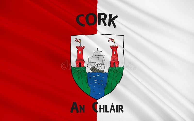 Flag of County Cork is the largest and southernmost county in Ir. Eland. Located in the province of Munster, it is named after the city of Cork. Cork County royalty free illustration