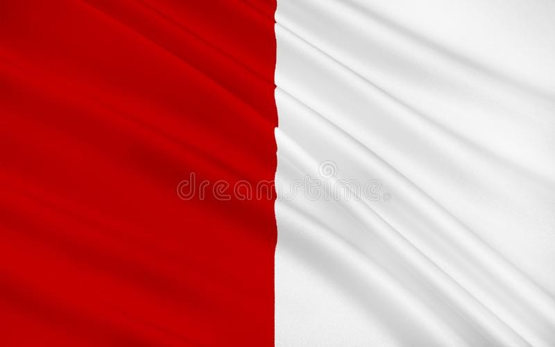 Flag of County Cork is the largest and southernmost county in Ir. Eland. Located in the province of Munster, it is named after the city of Cork. Cork County vector illustration