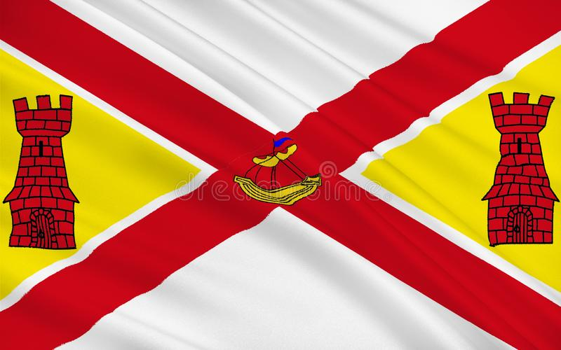 Flag of County Cork is the largest and southernmost county in Ir. Eland. Located in the province of Munster, it is named after the city of Cork. Cork County stock illustration
