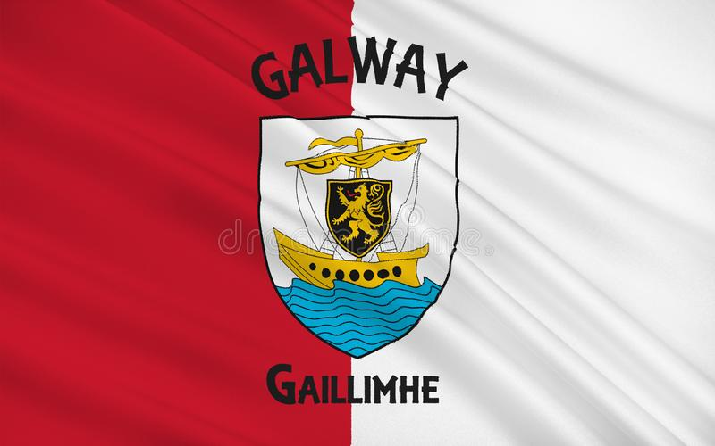Flag of County Galway is a county in the West of Ireland. In the province of Connacht. It is named after the city of Galway. Galway County Council is the local stock illustration