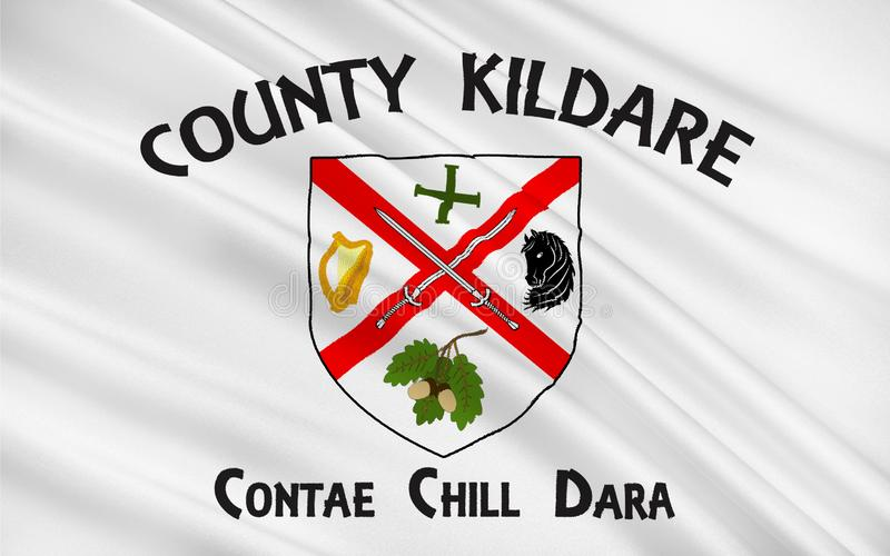 Flag of County Kildare is a county in Ireland. It is located in the province of Leinster and is part of the Mid-East Region. It is named after the town of stock illustration