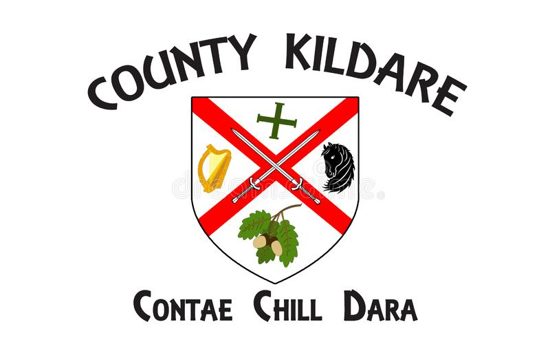 Flag of County Kildare is a county in Ireland. It is located in the province of Leinster and is part of the Mid-East Region. It is named after the town of royalty free illustration