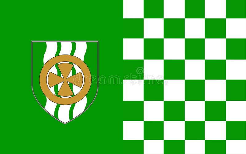 Flag of County Limerick is a county in Ireland. It is located in the province of Munster, and is also part of the Mid-West Region. Limerick City and County royalty free illustration