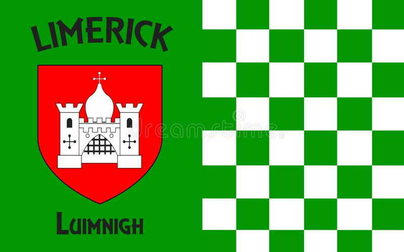 Flag of County Limerick is a county in Ireland. It is located in the province of Munster, and is also part of the Mid-West Region. Limerick City and County stock photos