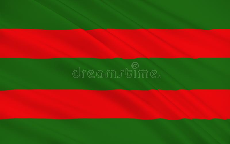 Flag of County Mayo is a county in Ireland. In the West of Ireland, it is part of the province of Connacht and is named after the village of Mayo, now royalty free illustration