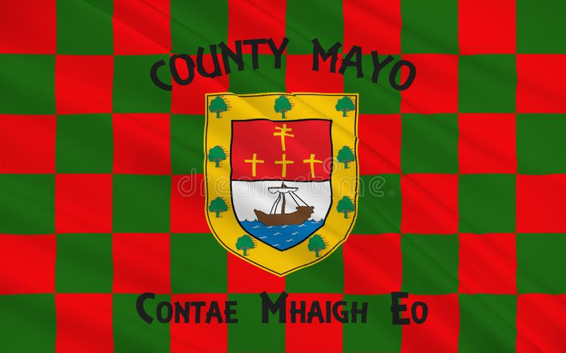 Flag of County Mayo is a county in Ireland. In the West of Ireland, it is part of the province of Connacht and is named after the village of Mayo, now vector illustration
