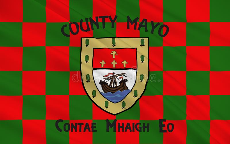 Flag of County Mayo is a county in Ireland. In the West of Ireland, it is part of the province of Connacht and is named after the village of Mayo, now stock illustration