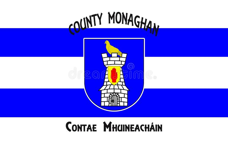 Flag of County Monaghan is a county in Ireland. It is part of the Border Region and is in the province of Ulster stock illustration