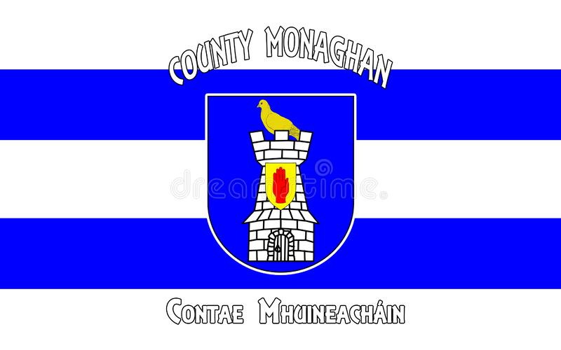 Flag of County Monaghan is a county in Ireland. It is part of the Border Region and is in the province of Ulster royalty free illustration