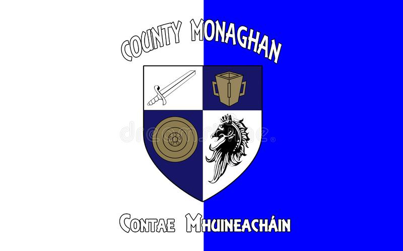 Flag of County Monaghan is a county in Ireland. It is part of the Border Region and is in the province of Ulster stock photo