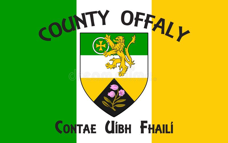 Flag of County Offaly is a county in Ireland. It is part of the Midlands Region and is also located in the province of Leinster royalty free stock photography