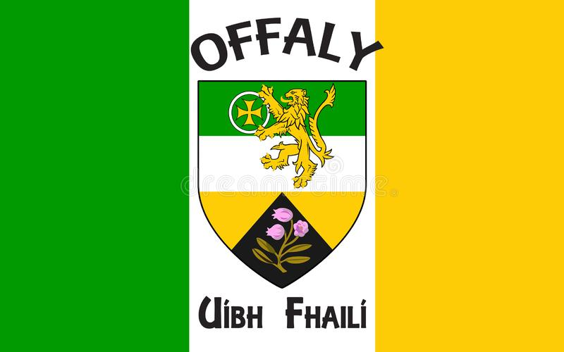Flag of County Offaly is a county in Ireland. It is part of the Midlands Region and is also located in the province of Leinster royalty free stock photos