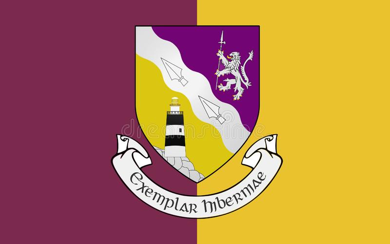 Flag of County Wexford is a county in Ireland. It is in the province of Leinster and is part of the South-East Region vector illustration