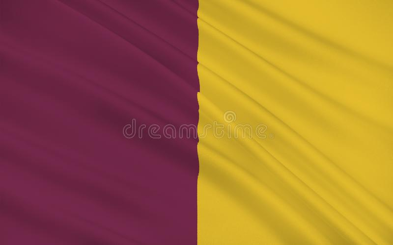 Flag of County Wexford is a county in Ireland. It is in the province of Leinster and is part of the South-East Region stock illustration