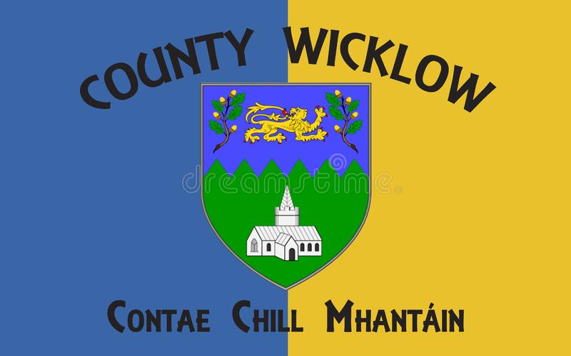 Flag of County Wicklow is a county in Ireland. The last of the traditional 32 counties to be formed, as late as 1606, it is part of the Mid-East Region and is stock illustration