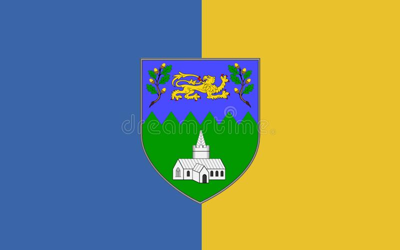 Flag of County Wicklow is a county in Ireland. The last of the traditional 32 counties to be formed, as late as 1606, it is part of the Mid-East Region and is royalty free illustration