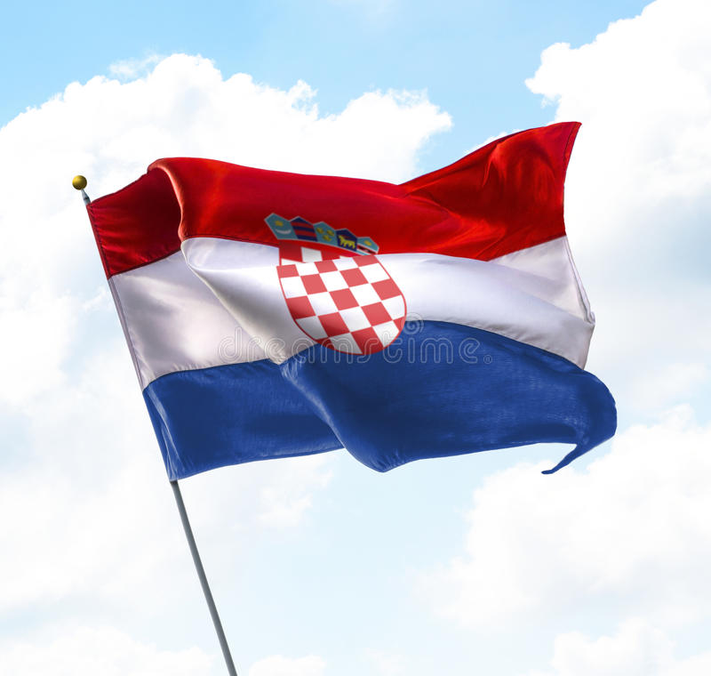 Flag of Croatia. Raised Up in The Sky royalty free stock photography