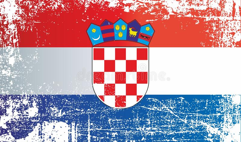 Flag of Croatia. Wrinkled dirty spots. Can be used for design, stickers, souvenirs vector illustration