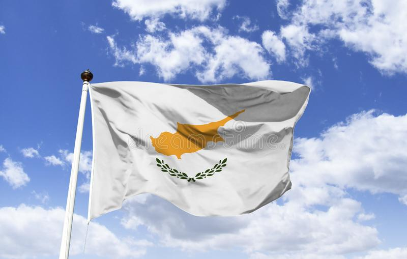 Flag of Cyprus, peace between Turks and Greeks. Flag of Cyprus, official symbol of the country, presents the design of the map of the island in copper-orange stock images