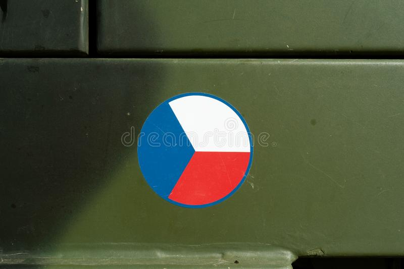 Flag of Czech Republic on green khaki background - Czech Armed Forces and Czech army stock photo
