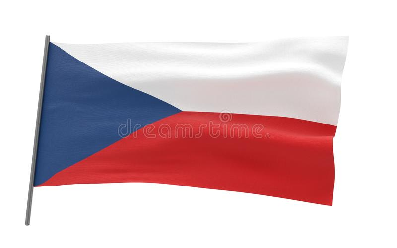 Flag of Czech Republic. Illustration of a waving flag of Czech Republic. 3d rendering royalty free illustration