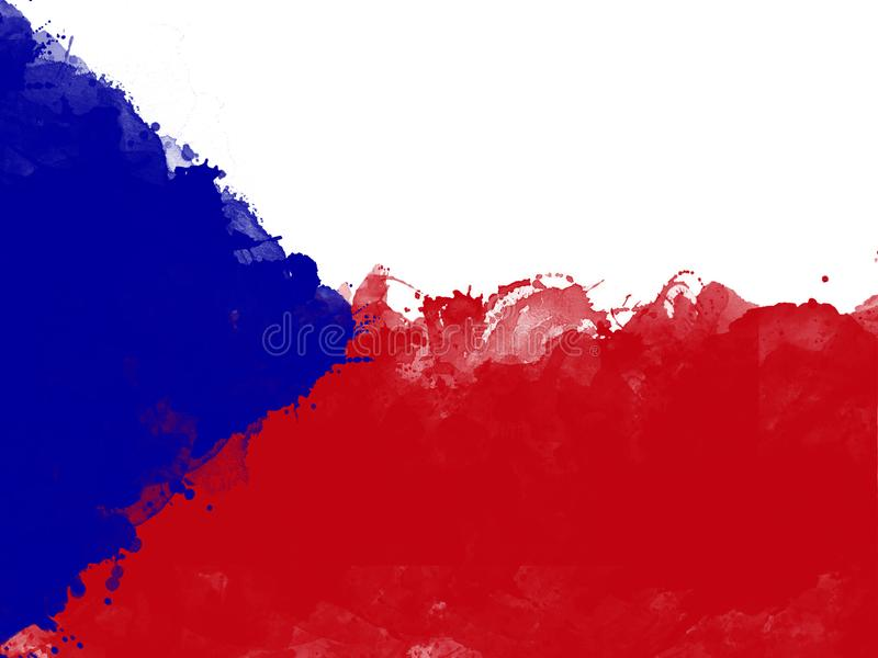 Download Flag Of Czech Republic By Watercolor Paint Brush Grunge Style Stock Illustration