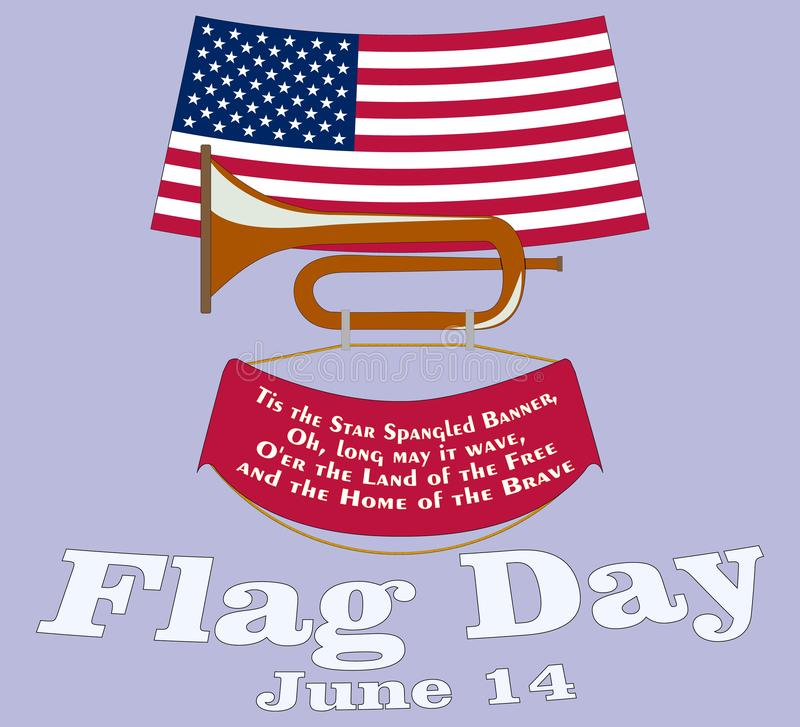 Flag Day card. Poster for June 14 Birthday of American Stars and Stripes. USA Star-Spangled Banner above vintage cavalry horn stock illustration