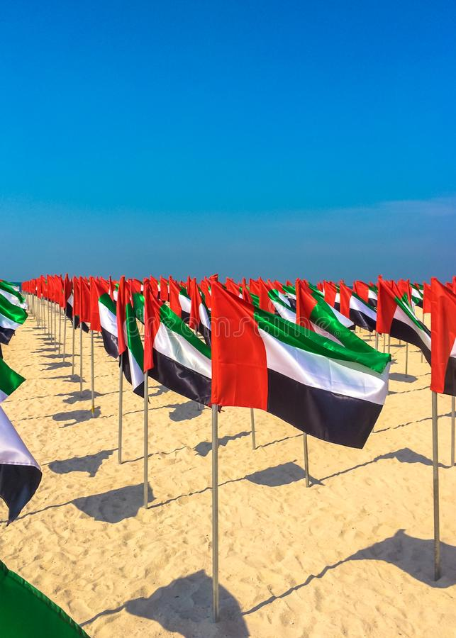 Flag day UAE. Many flags on the beach of Abu Dhabi. Flag day UAE. Many flags on the beach of Abu Dhabi stock photo