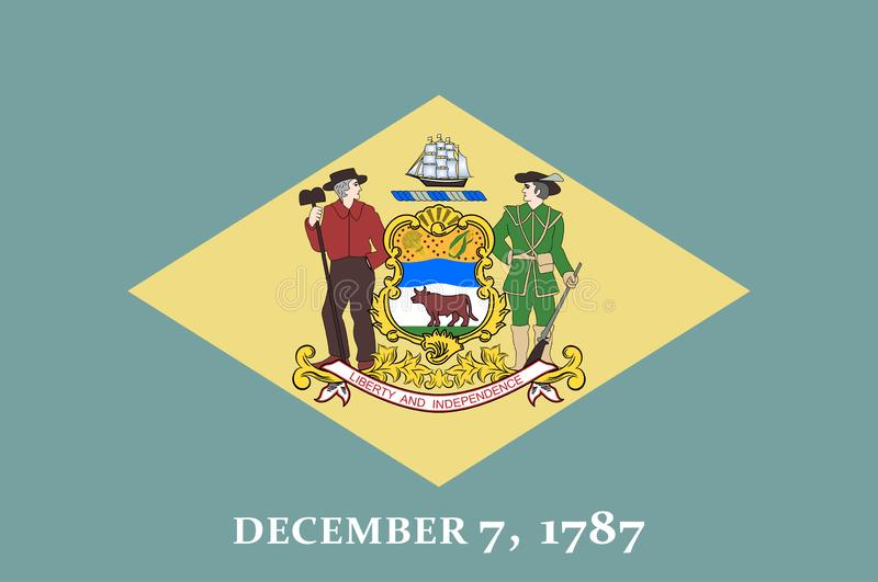 Flag of Delaware state of USA royalty free stock photography