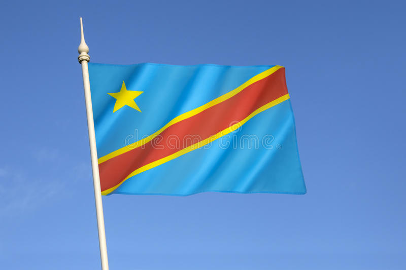 Flag of the Democratic Republic of the Congo. (Congo-Kinshasa, DROC) - adopted on 20th February 2006. (Not to be confused with the neighbouring Republic of the royalty free stock photography