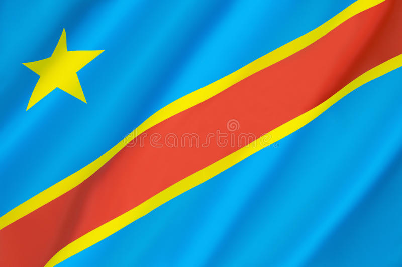 Flag of the Democratic Republic of the Congo. (Congo-Kinshasa, DROC) - adopted on 20th February 2006. (Not to be confused with the neighbouring Republic of the stock photo