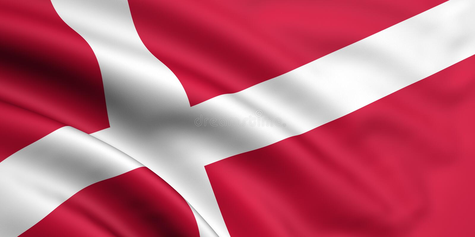Flag Of Denmark. 3d rendered and waving flag of denmark