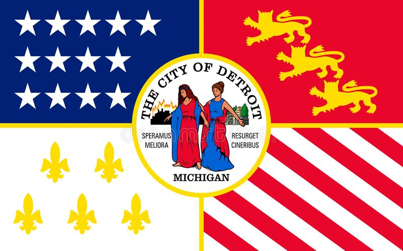 Flag of Detroit in Michigan, USA. Flag of Detroit is the most populous city in the U.S. state of Michigan royalty free stock images