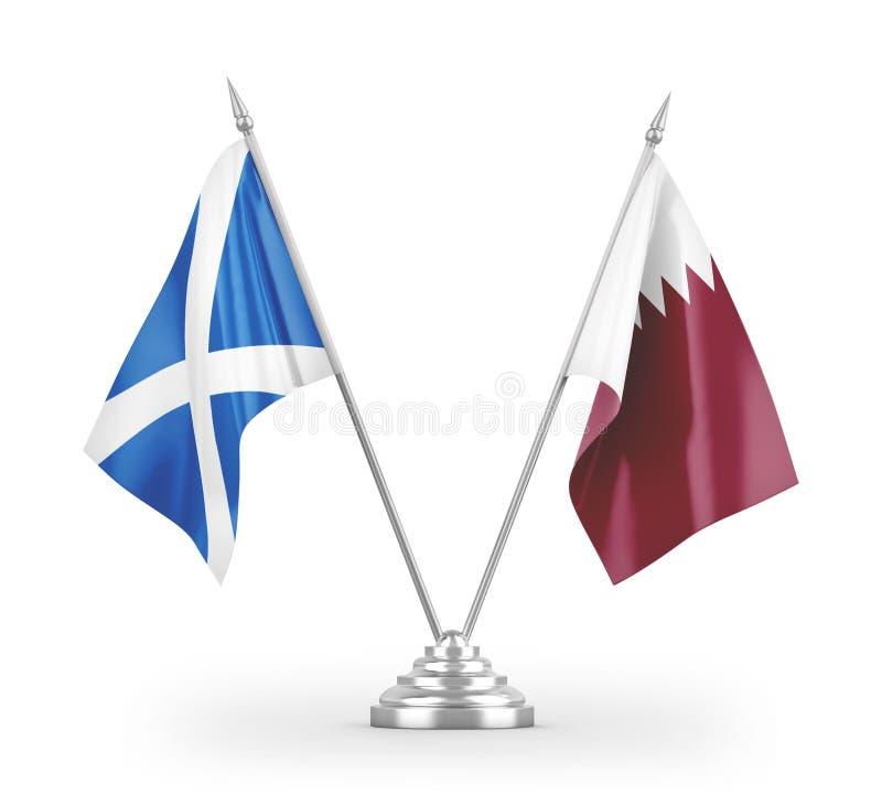 Flag di tabella Qatar e Scotland isolati con rendering 3D bianco illustrazione vettoriale