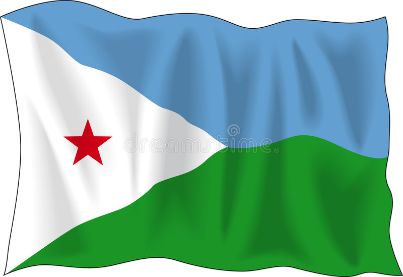 Flag of Djibouti. Waving flag of Djibouti isolated on white vector illustration