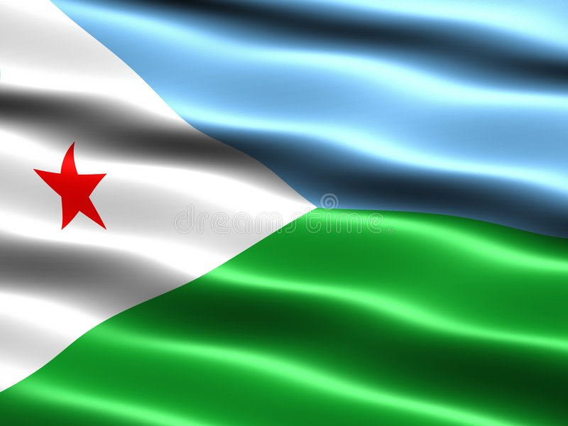 Flag of Djibouti. Computer generated illustration with silky appearance and waves vector illustration