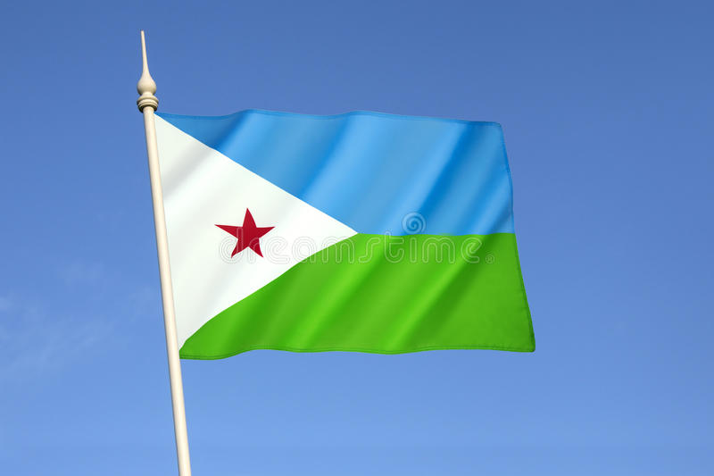 Flag of Djibouti. Adopted on 27th June 1977, following the country's independence from France. The light blue represents the Issa Somalis, and the green royalty free stock image