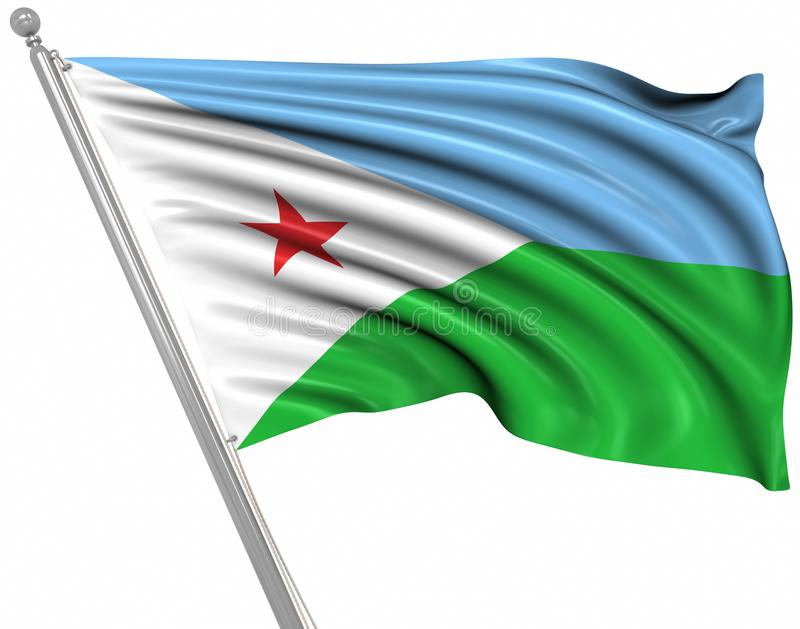 Flag of Djibouti. This is a computer generated and 3d rendered picture stock illustration