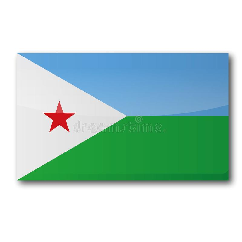 Flag of Djibouti. In Africa vector illustration