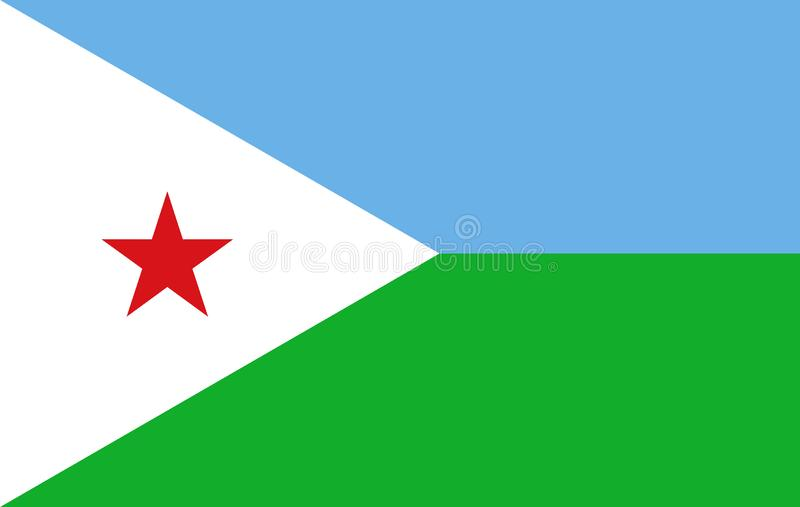 Flag of Djibouti. Illustration of the flag of Djibouti royalty free illustration